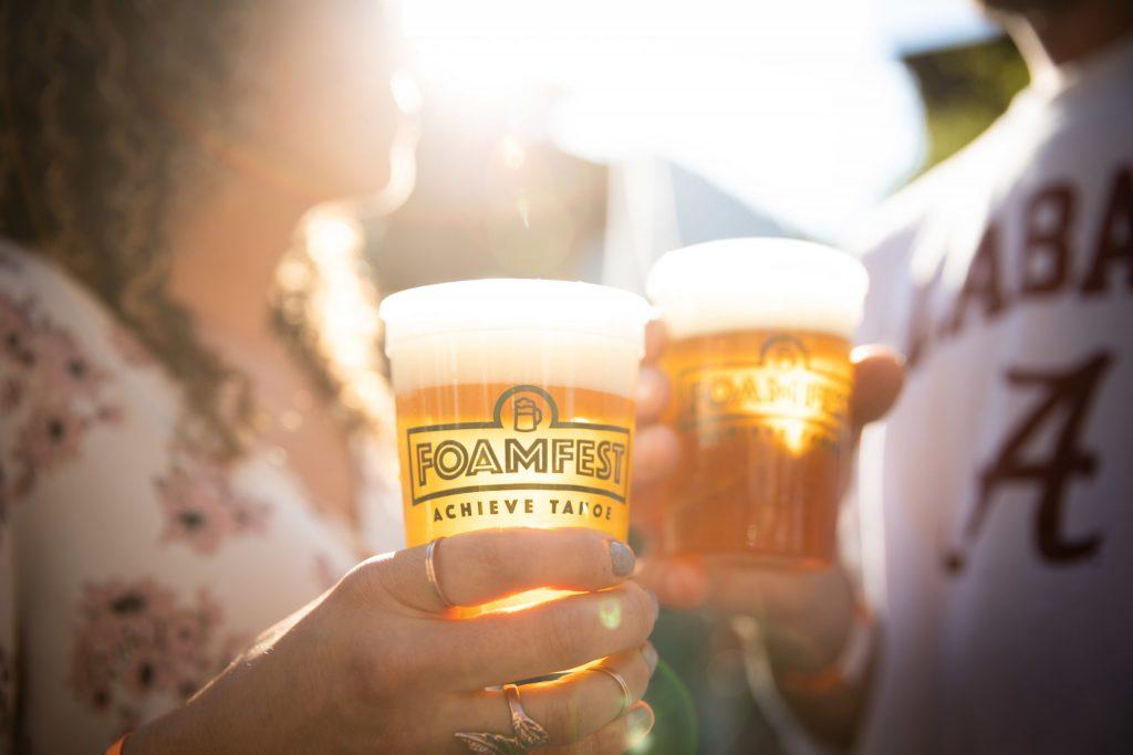 Achieve Tahoe Foam Fest souvenir beer glasses